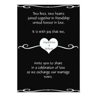 Wedding Invitation - Heart and Swirl on Black