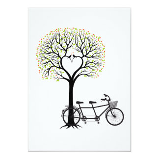 Wedding invitation heart tree with tandem bicycle