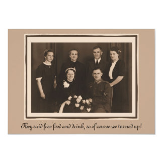 "Wedding Invitation humor funny custom text 5"" X 7"" Invitation Card"