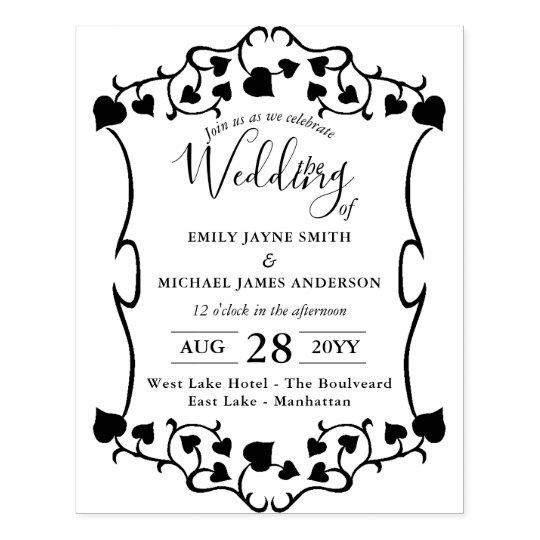 Wedding Invitation INK STAMP - Custom Vintage DIY
