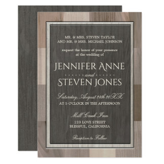 Wedding Invitation Inlaid Wood Look