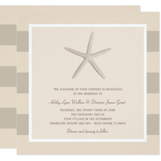 Wedding Invitation | Ivory Starfish Stripes