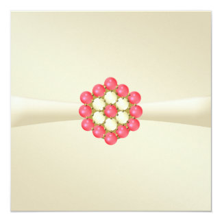 Wedding Invitation Ivory with Pearls and Ruby Gems
