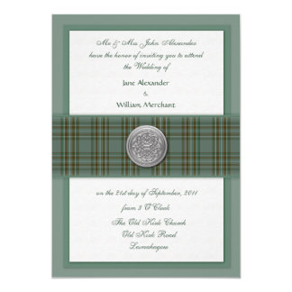 Wedding Invitation Kelly Family Tartan, Celtic Pin
