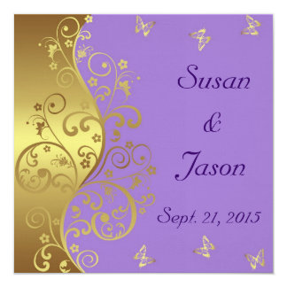 Wedding Invitation--Lavender & Gold Swirls 13 Cm X 13 Cm Square Invitation Card