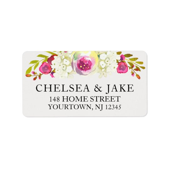 Wedding Invitation Mailing Labels Watercolor Pink