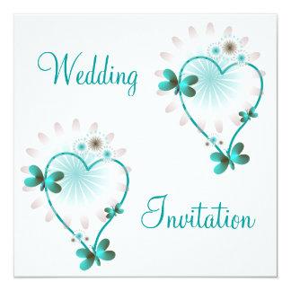 Wedding Invitation Mint Heart And Butterflies