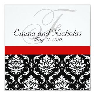 Wedding Invitation Monogram Damask Red Back View