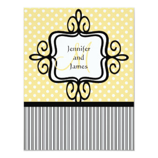 Wedding Invitation Monogram Dots Stripes