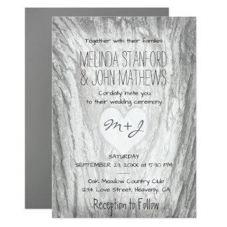 Wedding Invitation | Monogram Heart with Bark