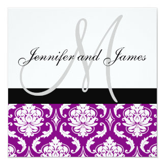 Wedding Invitation Monogram Names Purple Damask