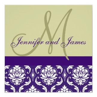 Wedding Invitation Monogram Taupe Purple Damask