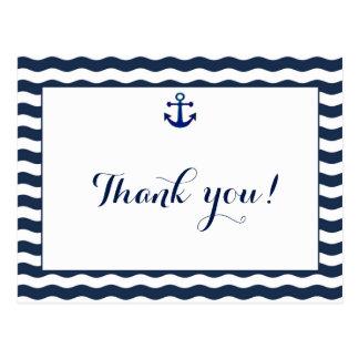 Wedding Invitation | Nautical Navy Waves Thank You Postcard