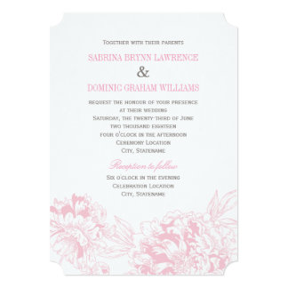 "Wedding Invitation | Pink Floral Peony Design 5"" X 7"" Invitation Card"
