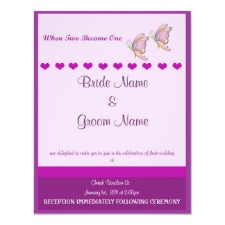 Wedding Invitation Purple Butterfly