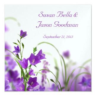Wedding Invitation--Purple Flowers Horizontal Card