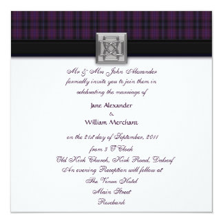 Wedding Invitation Purple Scottish Tartan