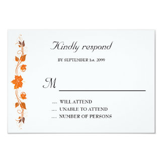 Wedding Invitation Respond Card,Fall Leaves Theme