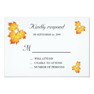 Wedding Invitation Respond Card,Fall Leaves Theme3