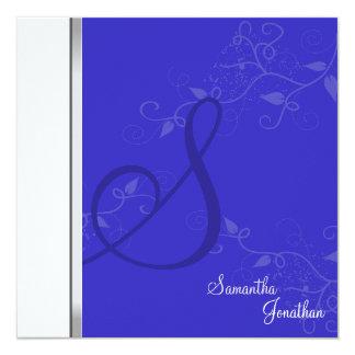 Wedding Invitation Royal Blue Floral Monogram
