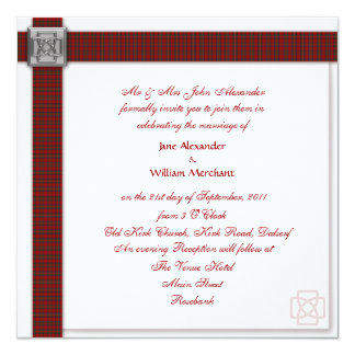 Wedding Invitation Royal Stewart / Stuart Tartan