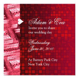 Wedding Invitation Ruby Red Gemstone Mosaic