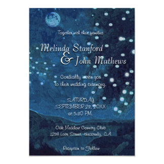 Wedding Invitation | Rustic Country Blue Night