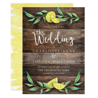 WEDDING INVITATION | Rustic Wood Lemon Watercolor