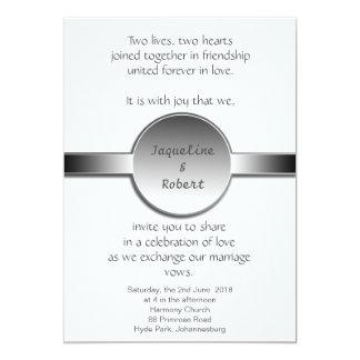 Wedding Invitation - Silver disc & ribbon