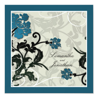Wedding Invitation Teal Green Floral Leafy Swirl