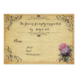 Wedding invitation traditional, RSVP, linen rustic