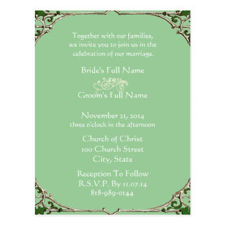 Wedding Invitation Vintage Frame Postcard