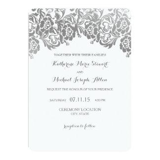 Wedding Invitation   Vintage Lace Silver