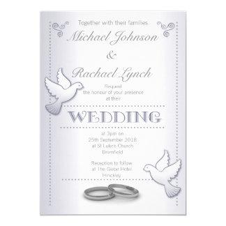 Wedding Invitation Vintage Silver Lovebirds