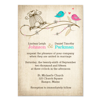 Wedding Invitation | Whimsical Birds in Love
