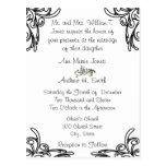 Wedding Invitation White Black Corners Swirls Postcard