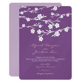 Wedding Invitation White Flowers Plum Lavender
