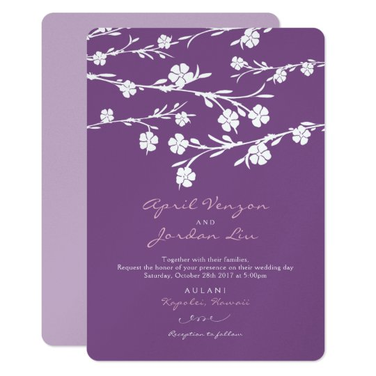 Wedding Invitation White Flowers Plum Lavender