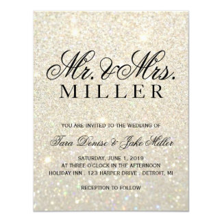 Wedding Invitation - White Gold Glit Fab