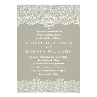 Wedding Invitation | White Lace on Olive Green