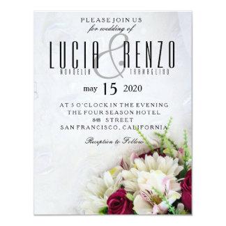 Wedding invitation, with delicate lace design and 11 cm x 14 cm invitation card