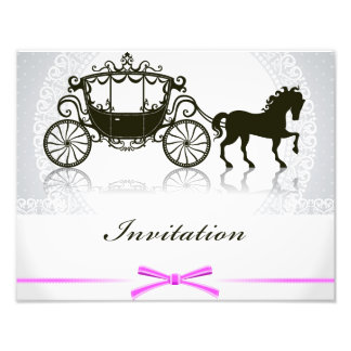 Wedding invitation with horse and buggy photo print