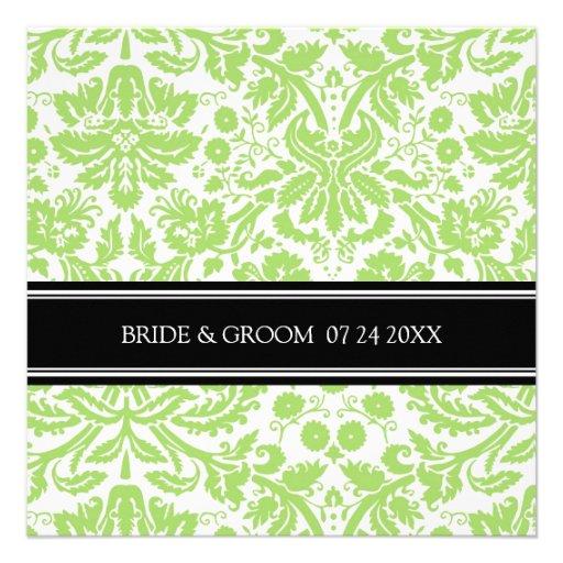 Wedding Invitations Black Lime Damask Pattern