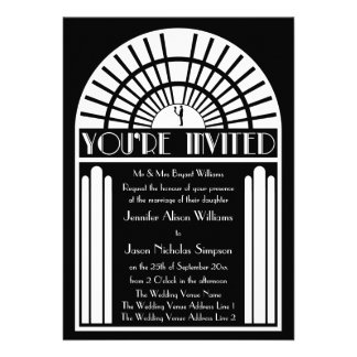 Wedding Invitations - Black White Art Deco Style