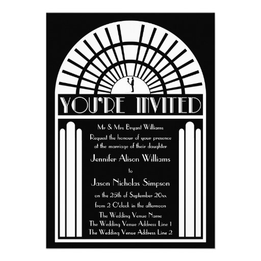 Wedding Invitations - Black & White Art Deco Style