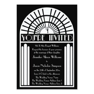 "Wedding Invitations - Black & White Art Deco Style 5"" X 7"" Invitation Card"