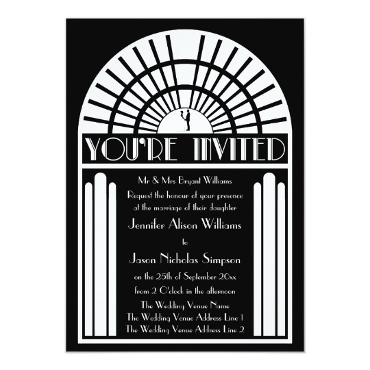 Wedding Invitations - Black & White Art Deco
