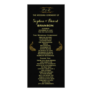 Wedding Invitations | Gold Peacock Program Custom Personalised Rack Card