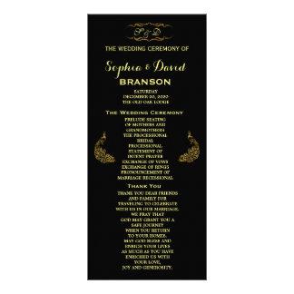 Wedding Invitations   Gold Peacock Program Custom Personalised Rack Card