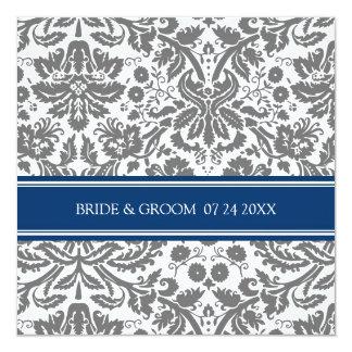 Wedding Invitations Grey Blue Damask Pattern